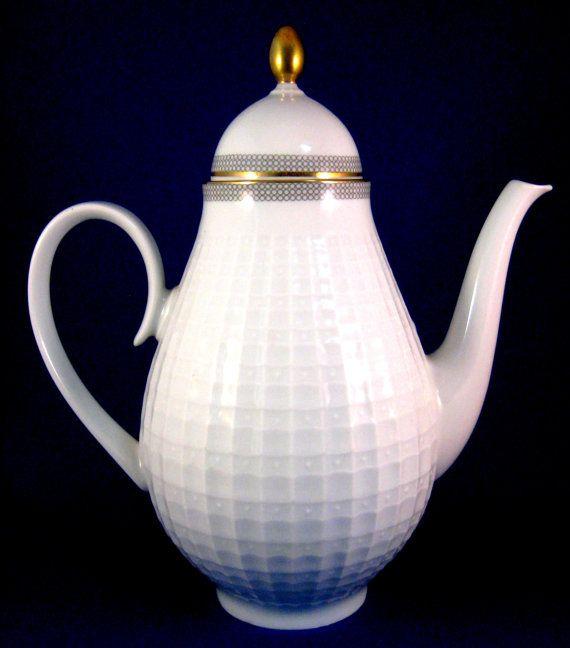 Coffee Pot Mid Century Eschenbach Bavaria Germany Gold trim Retro 1950s Tall Tea Pot