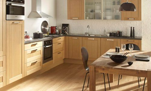 Awesome Cuisine Beige Et Bois Pictures Transformatorious - Meuble de cuisine en bois pour idees de deco de cuisine
