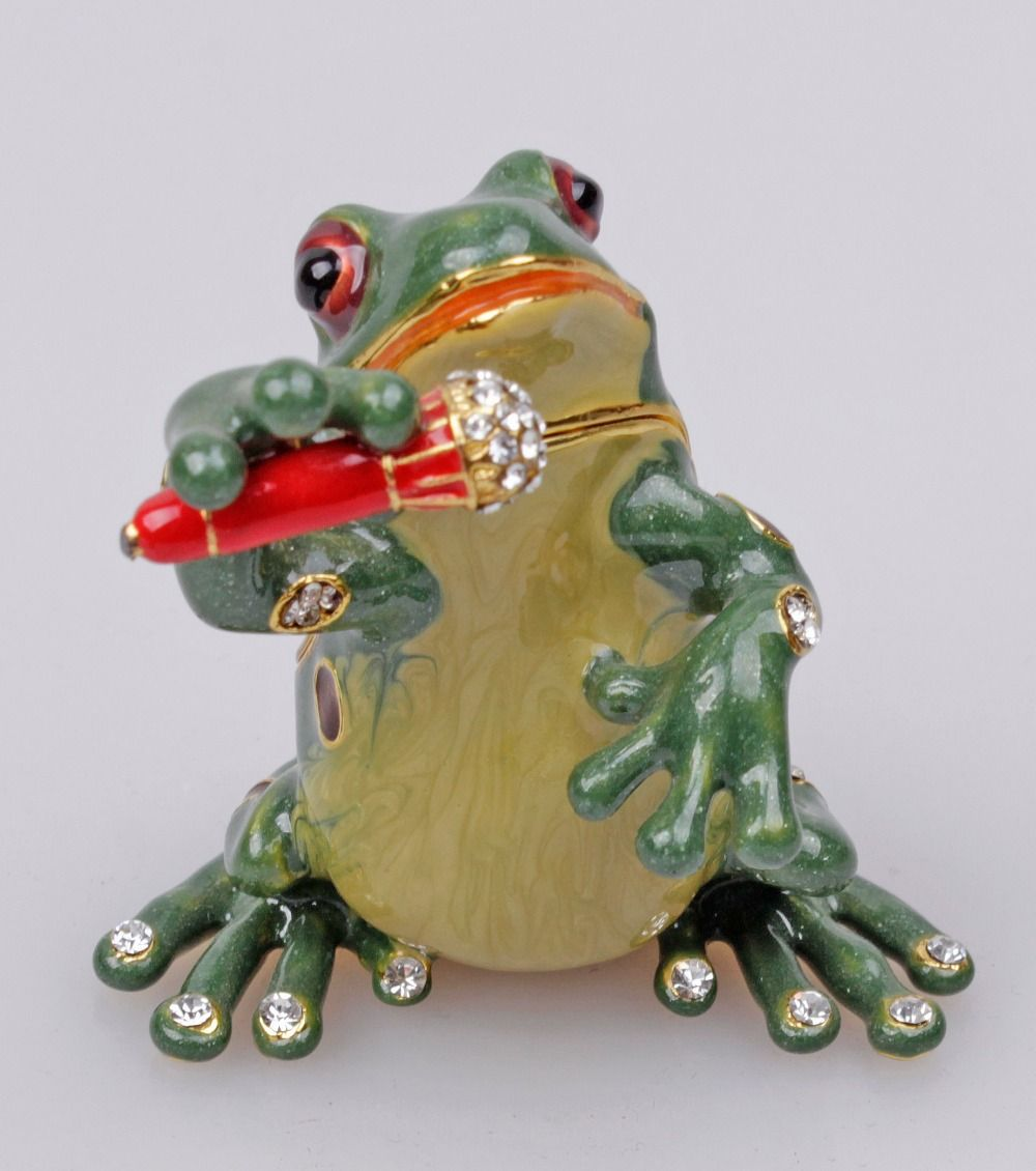 Singing Frog Bejeweled Collectible Trinket Jewelry Box Beads