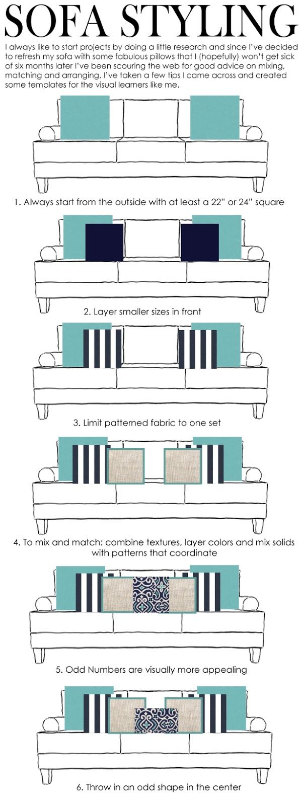 A good little helper when dressing your sofa with accent pillows, that bring not only color to your room, but texture and design as well! Home Decor Tips & Ideas!
