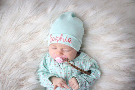 Personalized Baby Girl Hat Infant Hat Monogram Baby Beanie Newborn Hospital  Hat Mint Baby Hat Monogr 96ca7b2754e