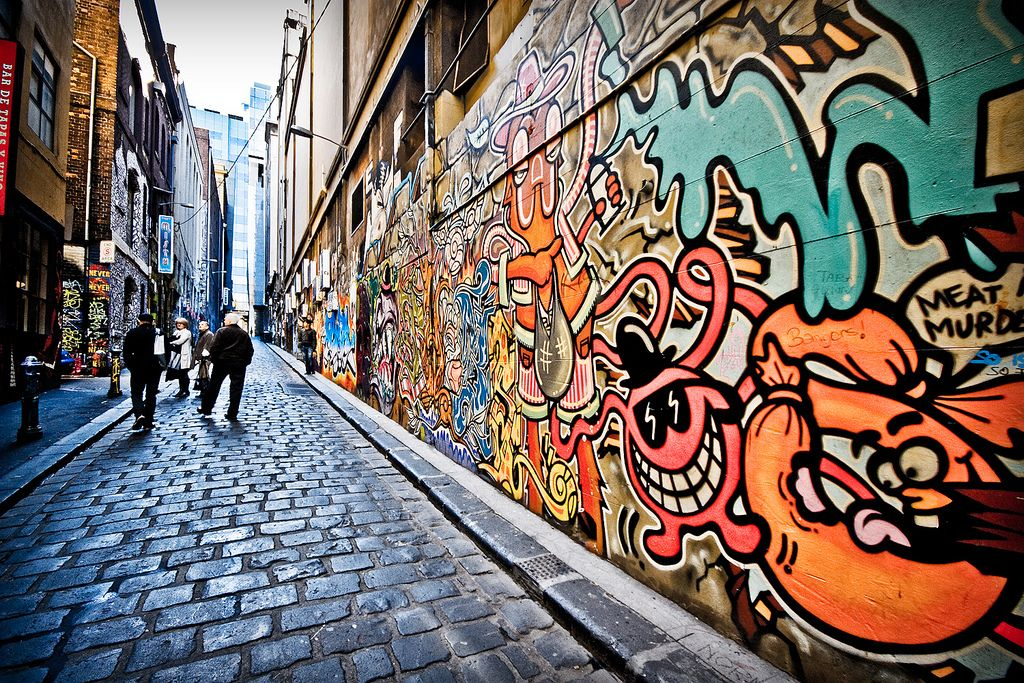 Graffiti walls down an Alley way
