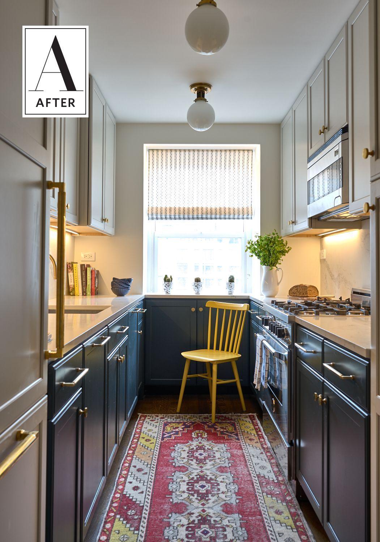 White Upper Cabinets Help To Lighten A Dark Kitchen While Dark Lower Cabinets Help To Widen Th Galley Kitchen Design Kitchen Design Small Kitchen Remodel Small