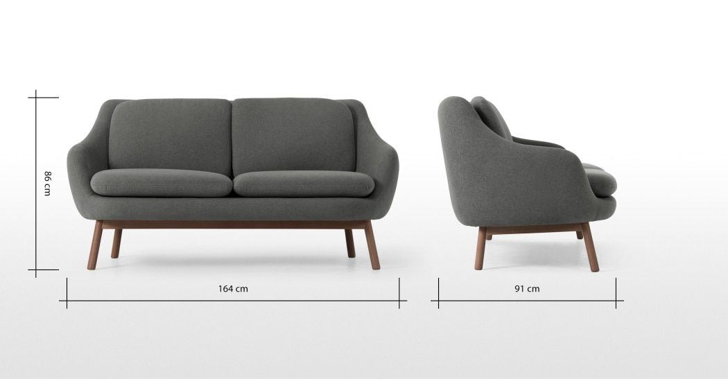 Oslo 2 Seater Sofa Marl Grey With Dark Stained Oak Legs 2 Seater Sofa Sofa Seater Sofa