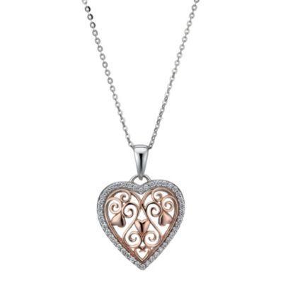 A vinatge inspired finish....Sterling silver & rose gold-plated filigree heart pendant- Ernest Jones #ernestjones #heart