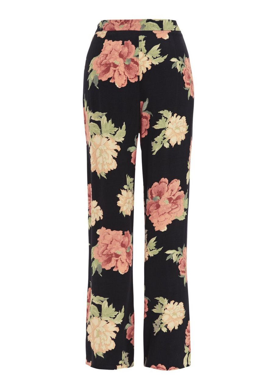 /% SOUTH Black Ditsy Print Palazzo Trousers MUST HAVE UK 8
