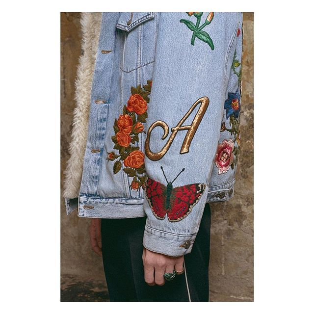 Customize an embroidered denim jacket with #GucciDIY, choose from a light or dark wash, silk or shearling lining and embellish with a lineup of patches and a monogram letter appliquéd to the sleeve. #MFW #AlessandroMichele  Photo: @nickwaplington