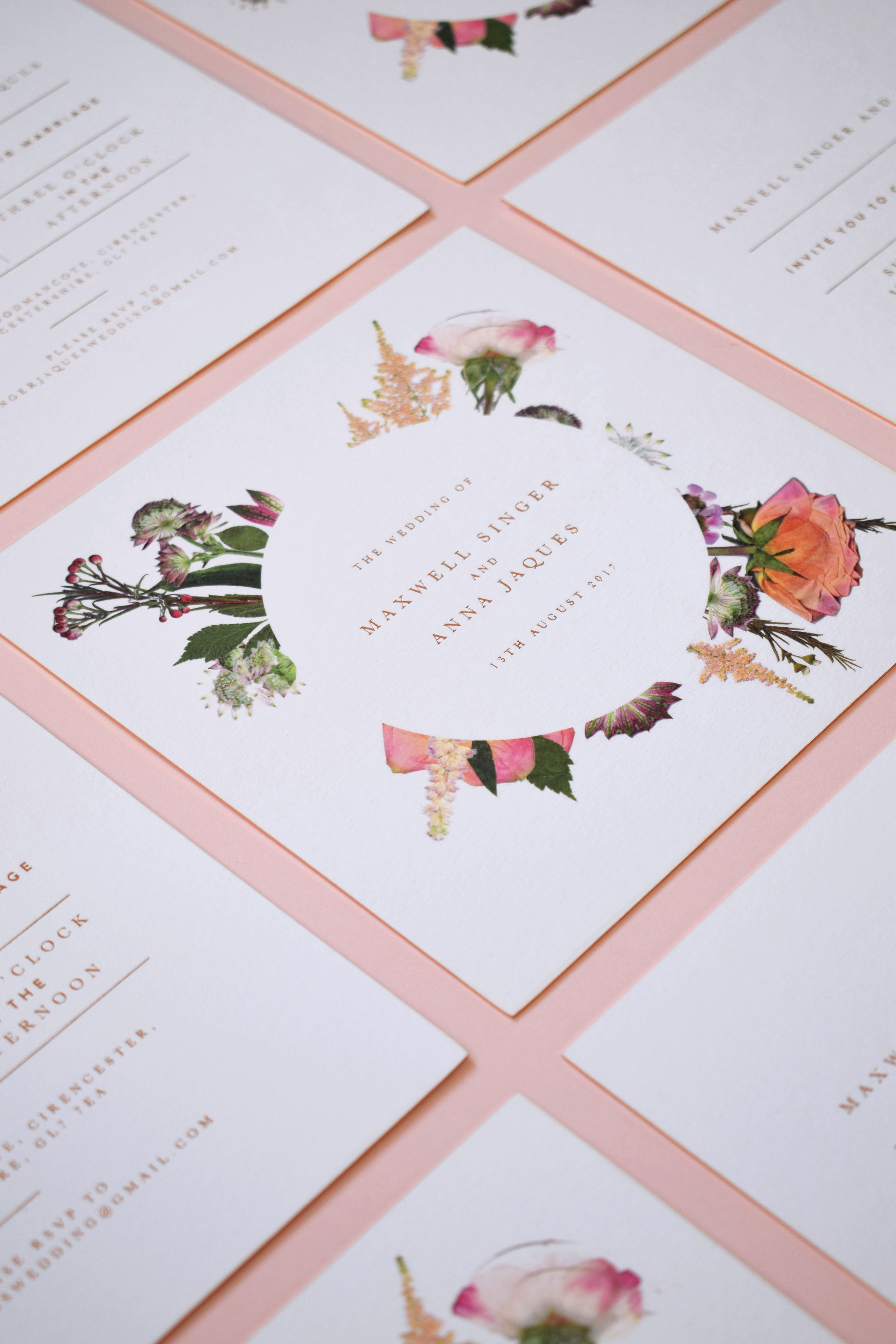 Pressed Flower Wedding Invitations with Rose Gold Foil | Pressed ...