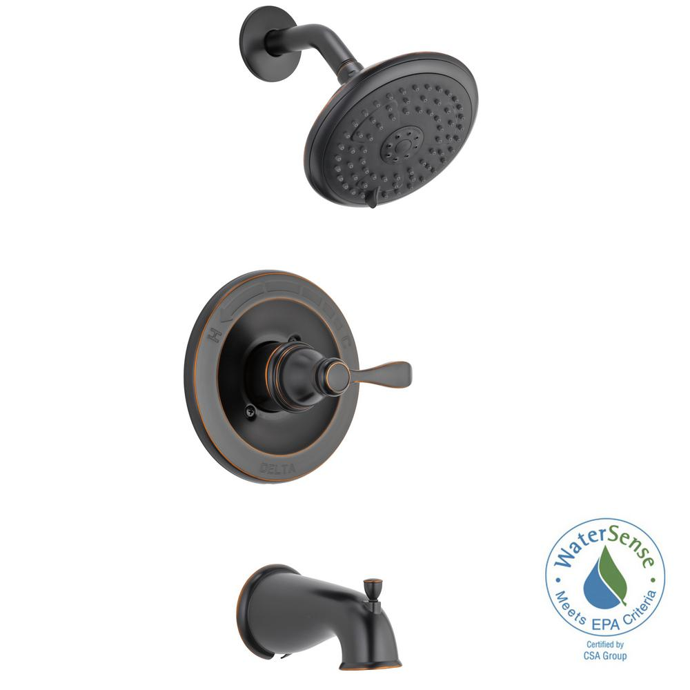 Delta Porter Single Handle 3 Spray Tub And Shower Faucet In Oil Rubbed Bronze Valve Included 144984c Ob A T Tub And Shower Faucets Shower Faucet Shower Tub