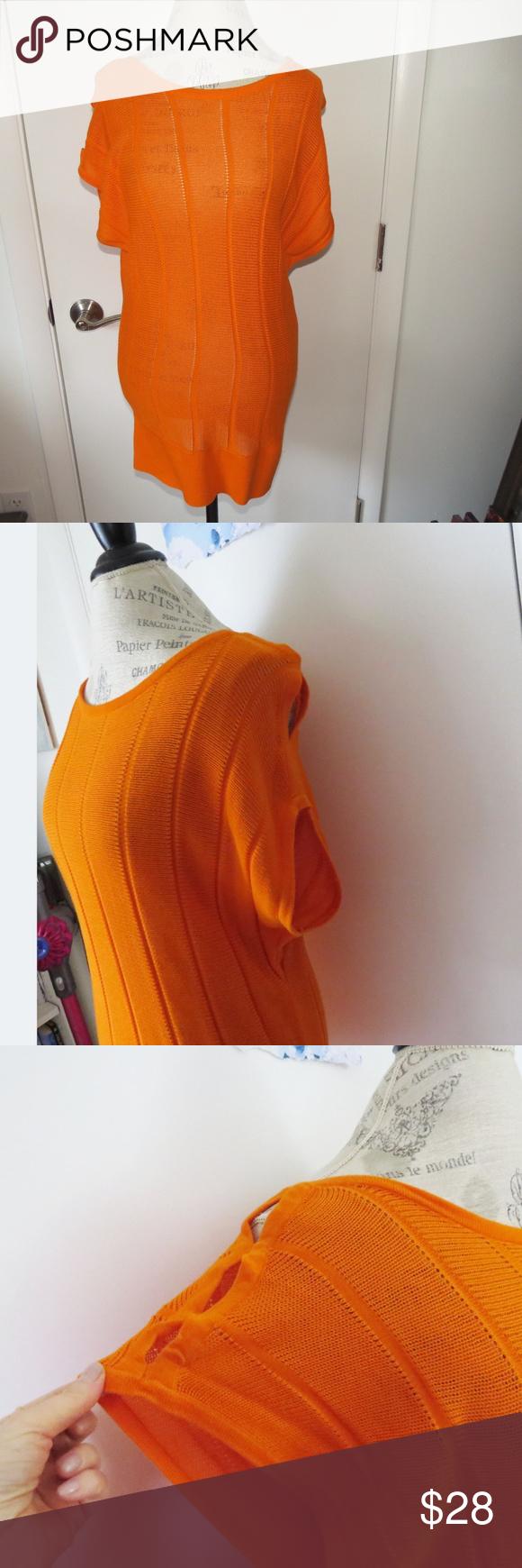 One 7 Six Orange Woven Sweater Size M Tunic Woven Sweater Sweater Sizes Light Weight Sweater