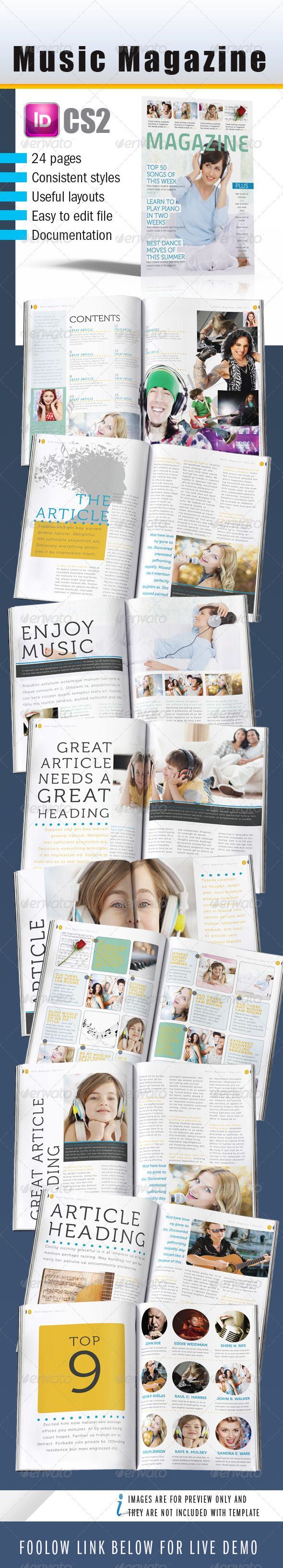Music InDesign Magazine 24 pages  Template • Only available here ➝ http://graphicriver.net/item/music-indesign-magazine-24-pages/240559?ref=pxcr