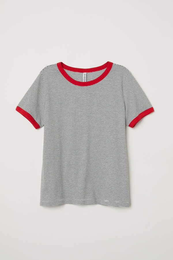 7df85031a1a H&M Short T-shirt - White/gray striped - Women | Clothing | Shirts ...