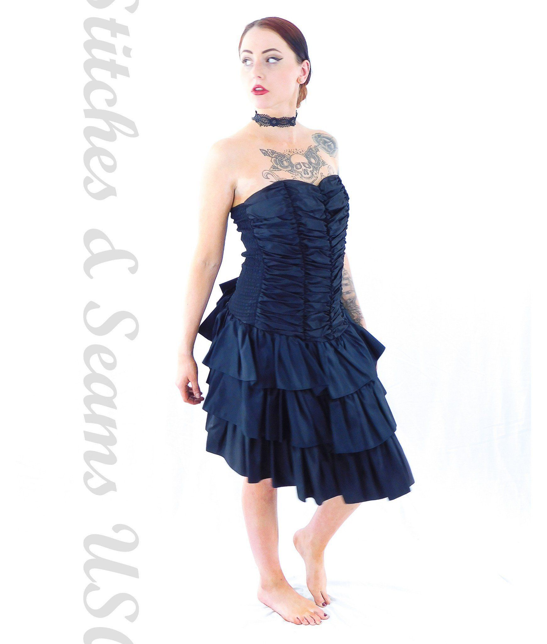 Positively elllyn formal dress pitch black gothic womens costume