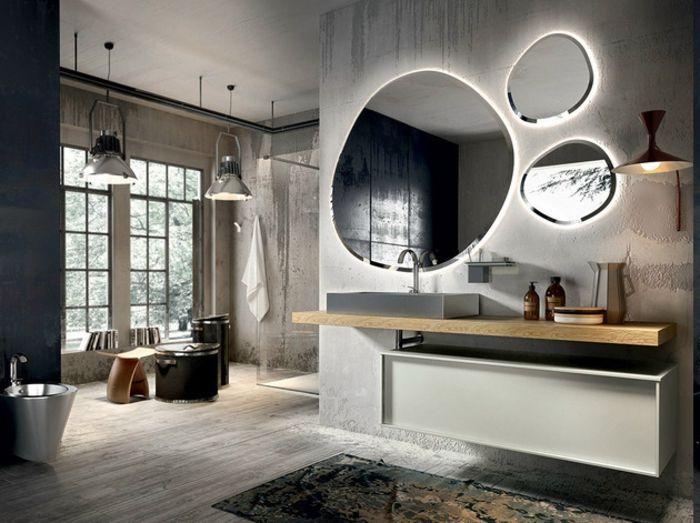 Deckenbeleuchtung Badezimmer ~ Modernes badezimmer mit zwei gro0en fenstern duschkabine aus glas