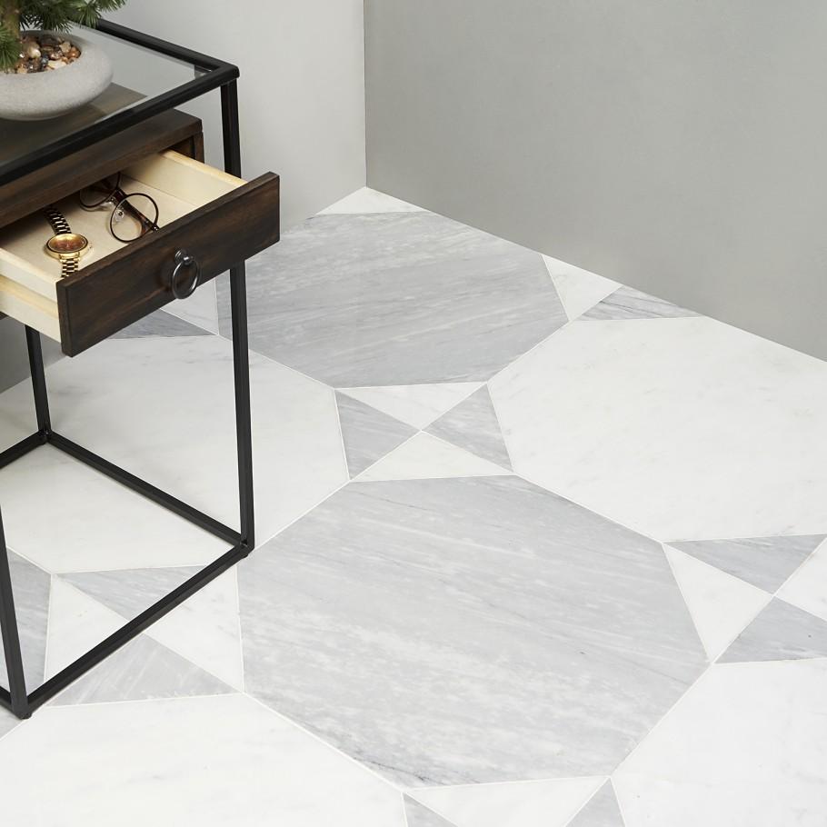 Pantheon Carrara And Italian Gray Wood Mosaic Tile In 2020 Wood Mosaic Tile Wood Mosaic Marble Shower Walls