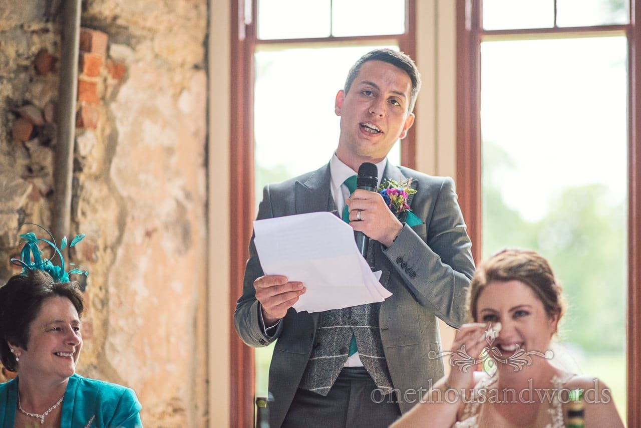 Grooms Speech Makes Bride Cry With Laughter At Lulworth Castle WeddingPhotography By One Thousand