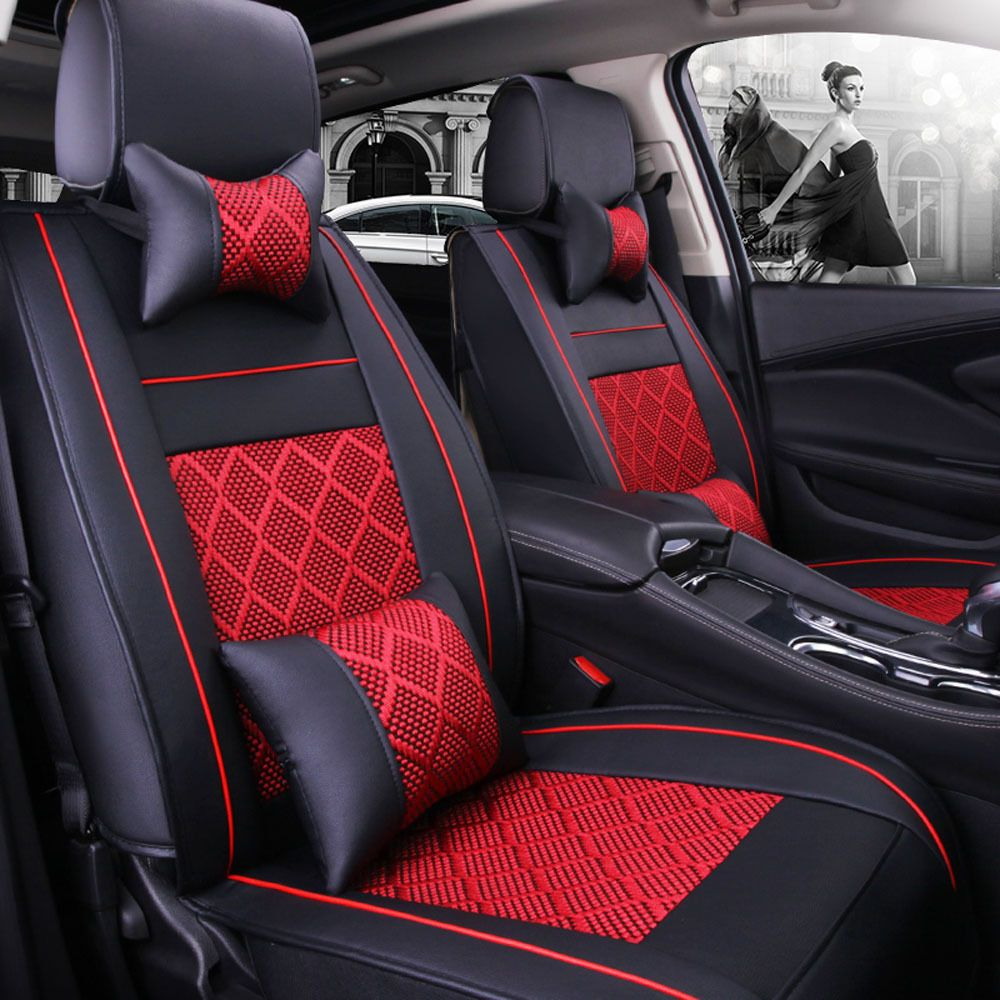 Cool awesome 5seats car seat cover pu leathermesh