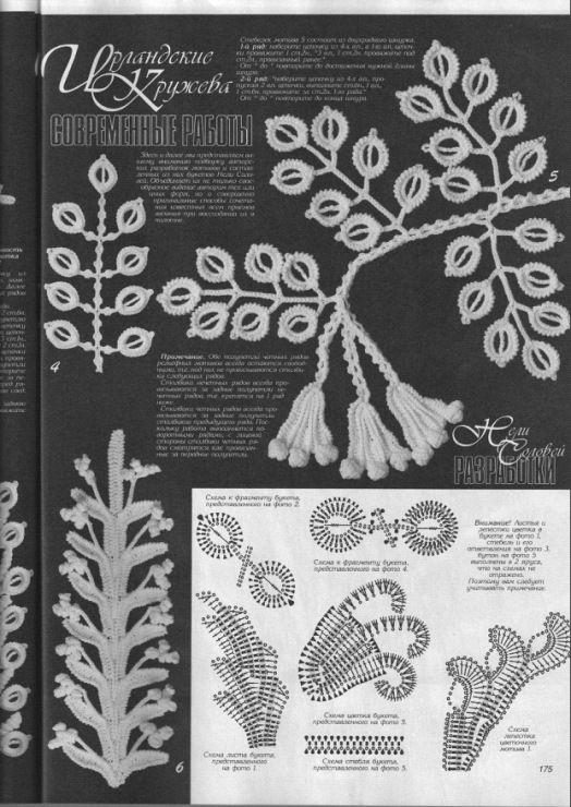Irish crochet leaf motif - Gallery.ru / Фото #21 - Дуплет - angebaltik #irishcrochetmotifs