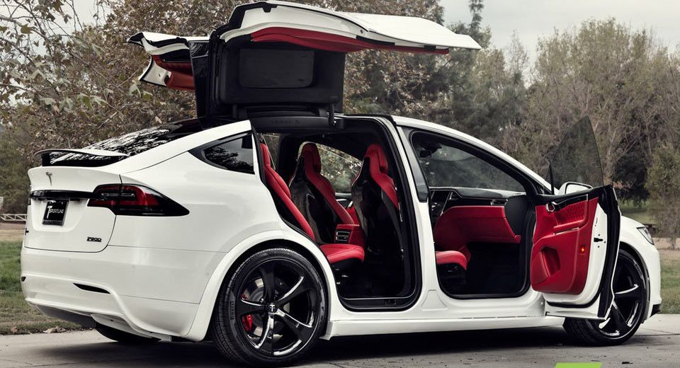 Custom Tesla Model X With Bentley Red Interior Selling For ...