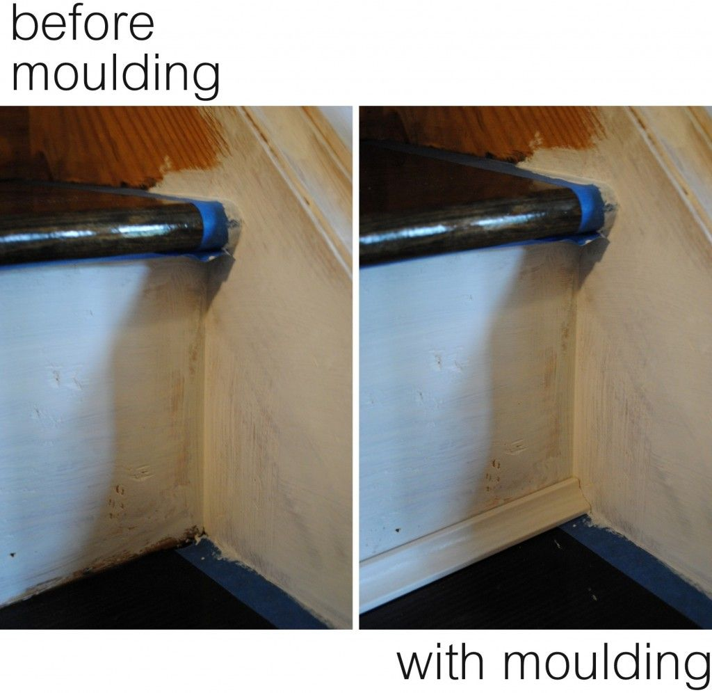 Adding Moulding At The Treads And Risers Via Remodelaholic For Basement Stairs Stairs Trim Diy Stairs Stair Moulding