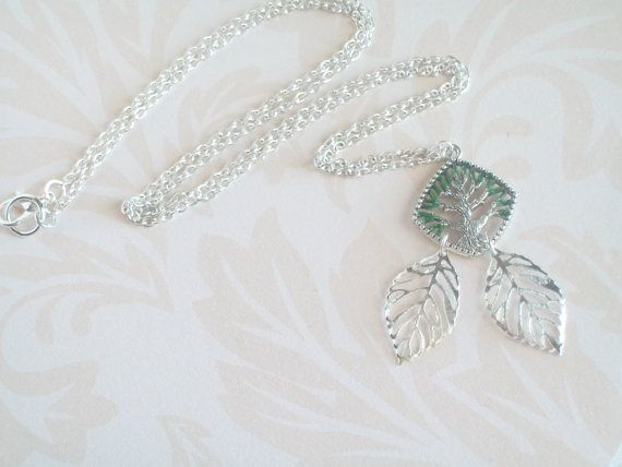 Green Tree NecklaceDiamond Shape Charm with Painted by JypsyJewels
