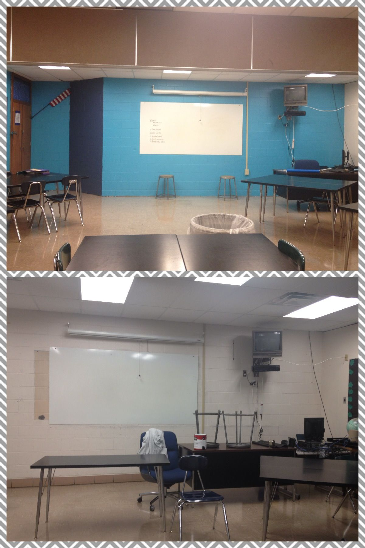 Before/after classroom with 7 Home Depot Oops Paint