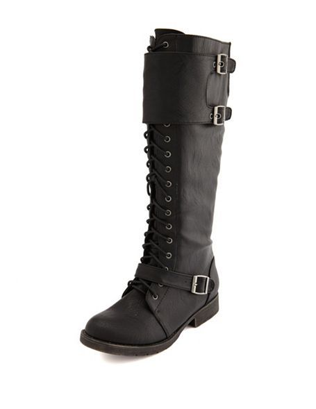 e6f9fdb039e9b2 Lace-Up Knee-High Flat Boot  Charlotte Russe...cut the front part into 2  straps...wear with knit leg warmers