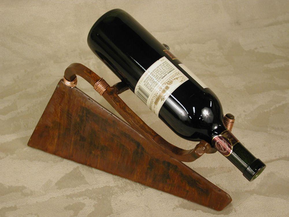 Patinated Steel Copper Wire Single Wine Bottle Holder Badmancom
