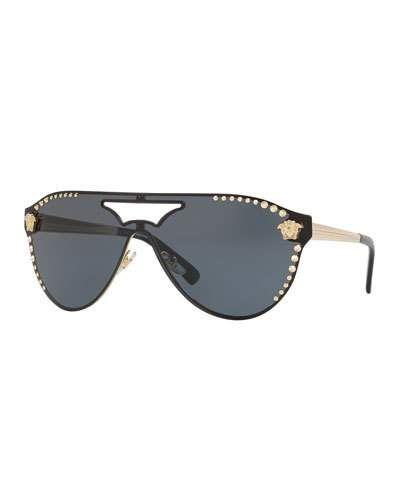 da65c82eb1fa Men's Metal-Studded Shield Sunglasses | Products | Sunglasses ...