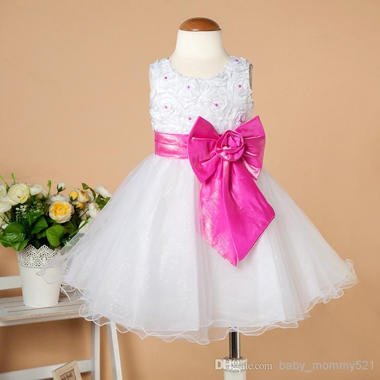 Hot Sale Party Dress Baby Sizes Flowergirl Dress with Pearls Big ...