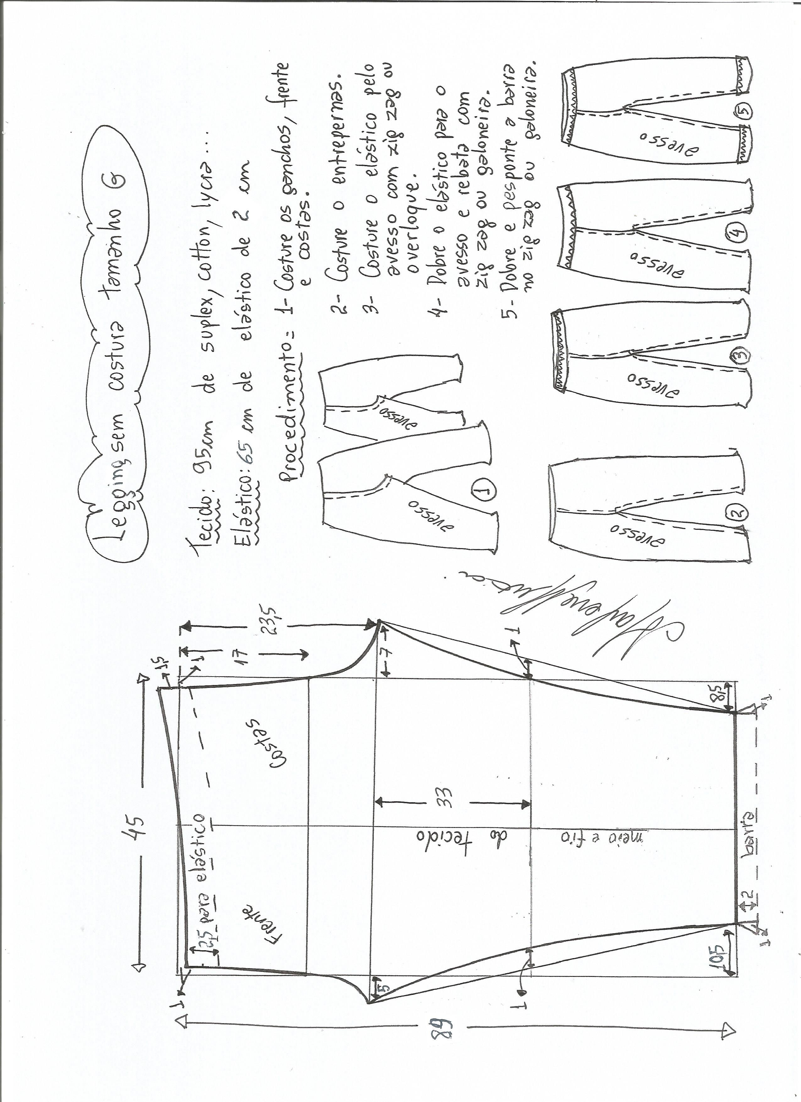 Patrón de legging sin costura lateral | Costura | Pinterest | Sewing ...