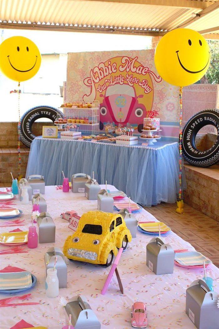 Party Setup From A 60s VW Love Bug Themed Birthday Via Karas Ideas KarasPartyIdeas