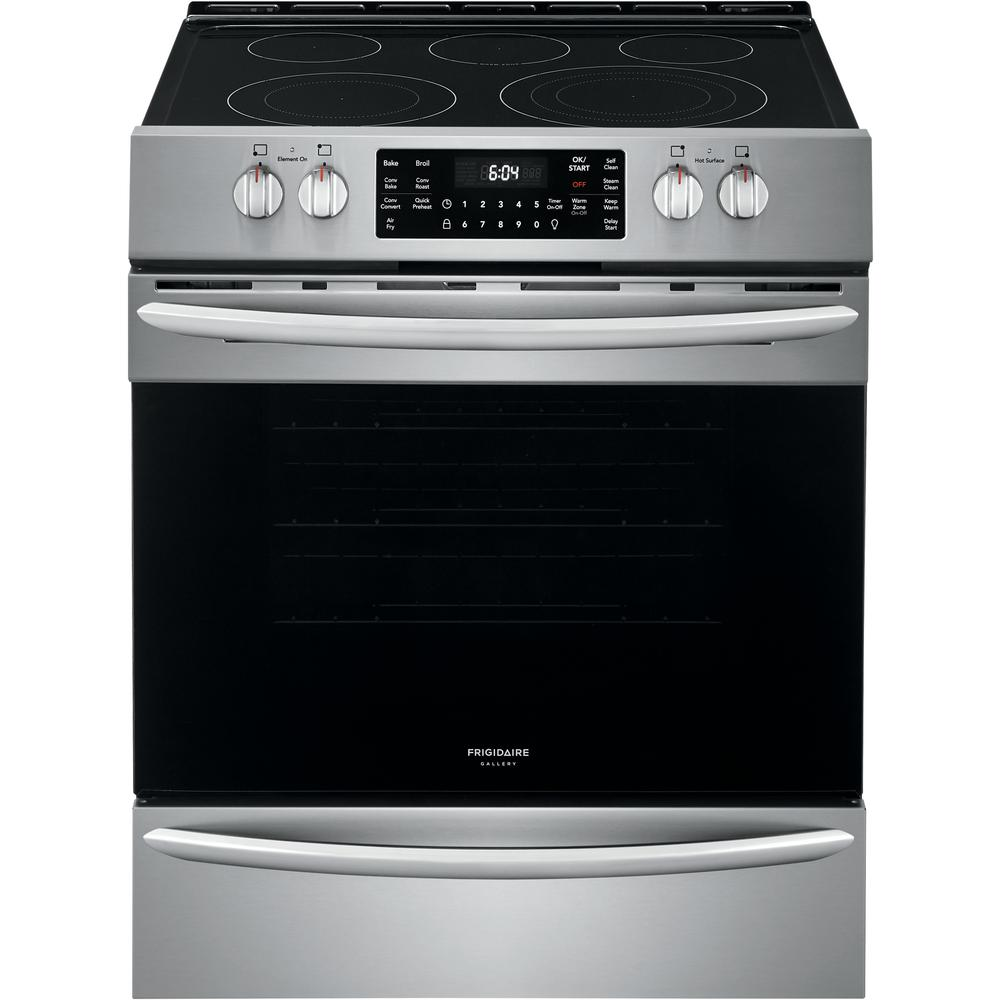 Frigidaire Gallery 30 In 5 4 Cu Ft Front Control Electric Range With Air Fry In Stainless Steel Fgeh3047vf The Home Depot Frigidaire Gallery Electric Range Freestanding Electric Ranges