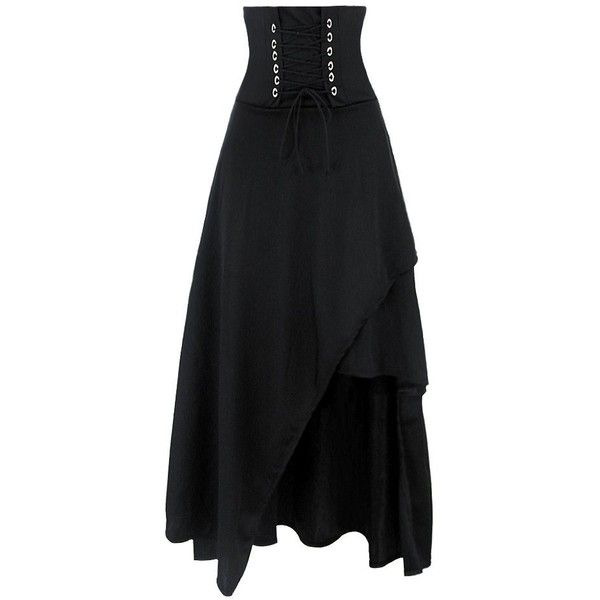 023e9291ec Killreal Women's High Waist Sexy Victorian Steampunk Gothic Hi Low... ❤  liked on Polyvore featuring skirts, high-waist skirt, steampunk skirt, hi  low skirt ...