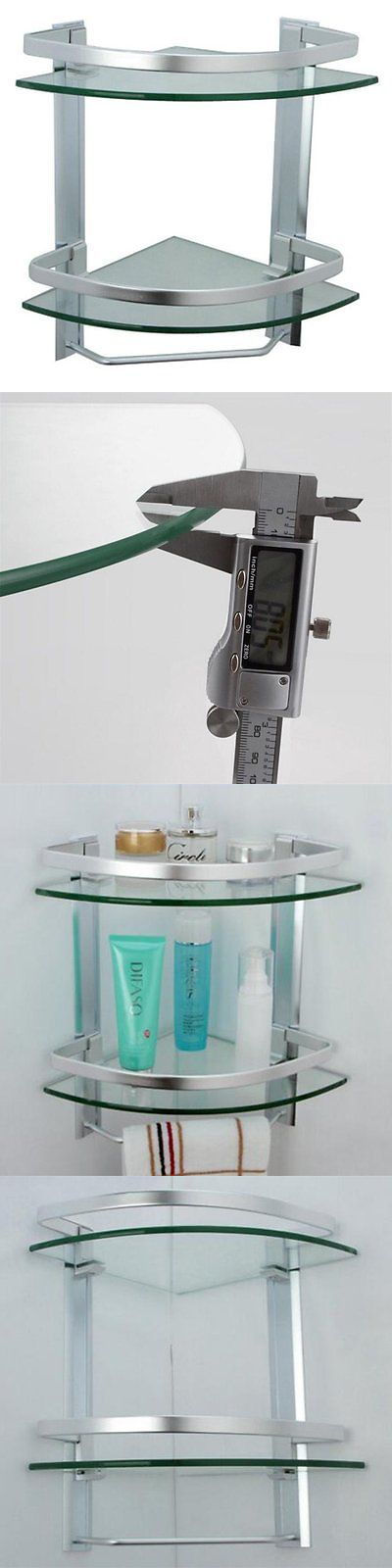 Shelves 31385 Homeself Triangular Aluminum Bathroom Glass Corner