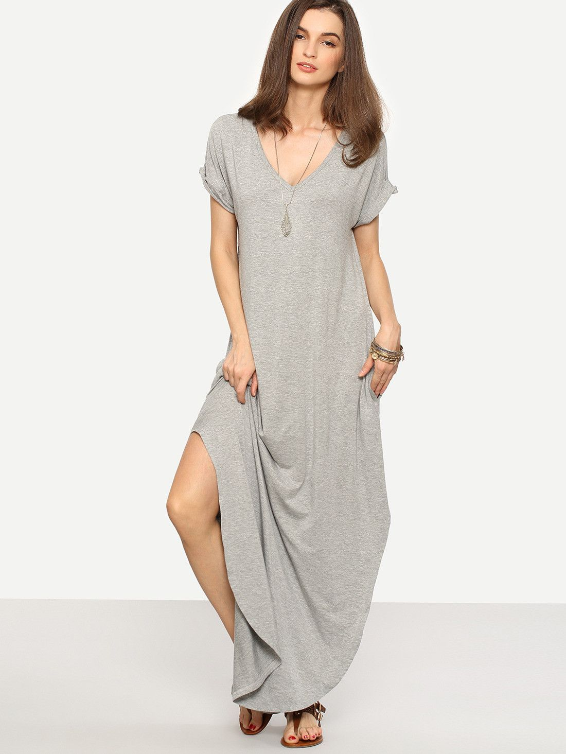 8012489dde Fabric: Fabric is very stretchy Season: Summer Type: Tshirt Pattern Type:  Plain Sleeve Length: Short Sleeve Color: Grey Dresses Length: Maxi Style:  Casual, ...