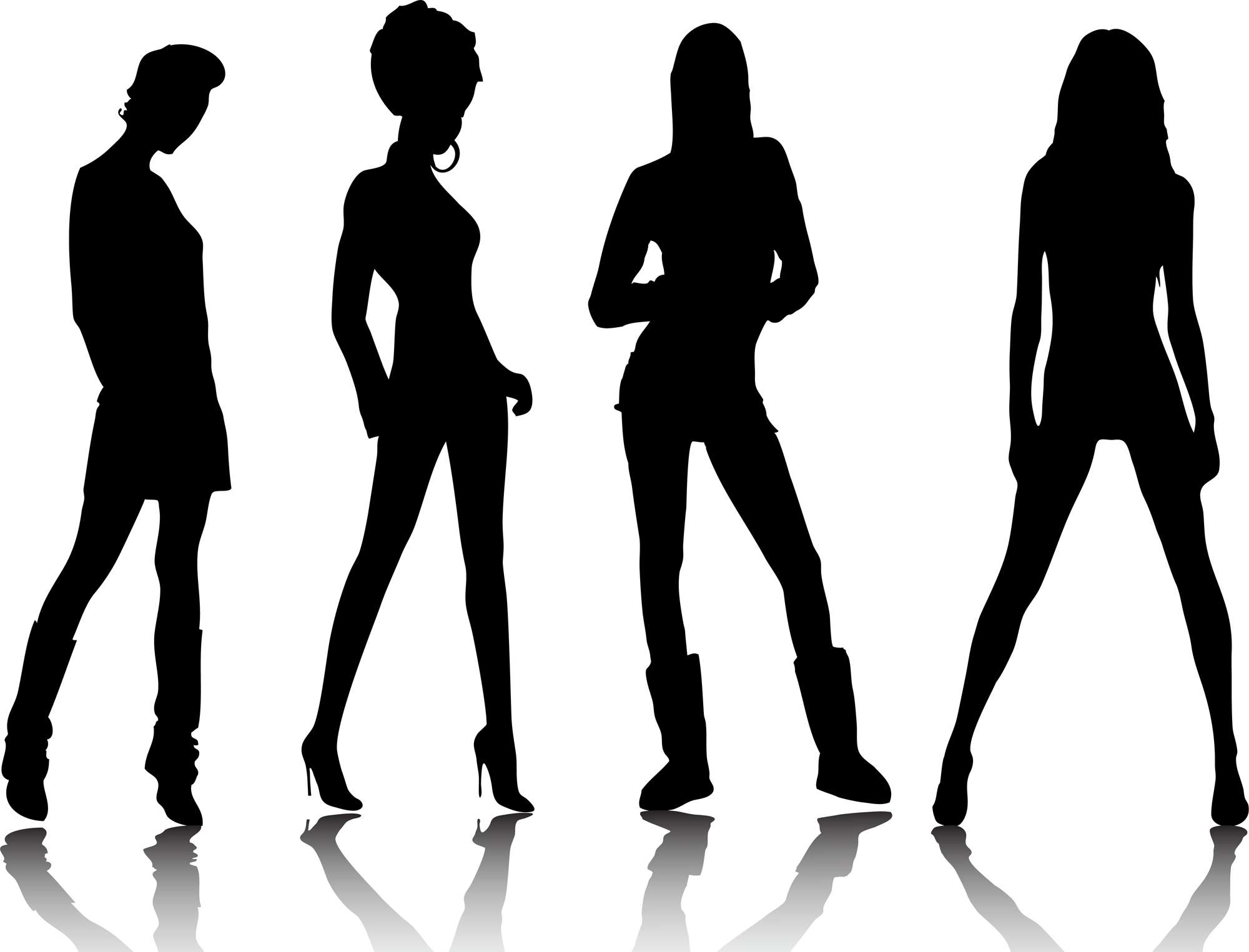 legged beautiful models silhouettes with different