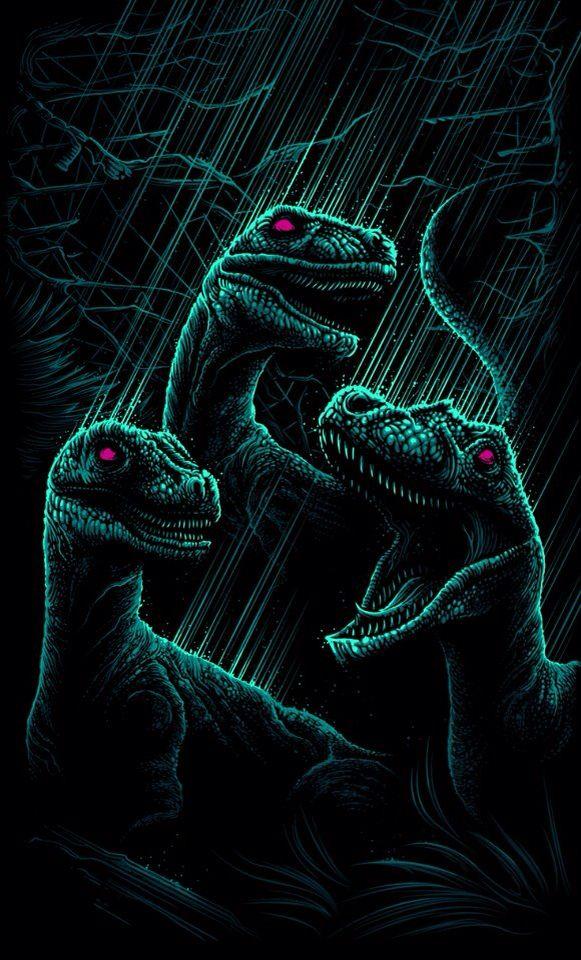 Dan Mumford Jurassic Parkinspired piece, dinosaurs