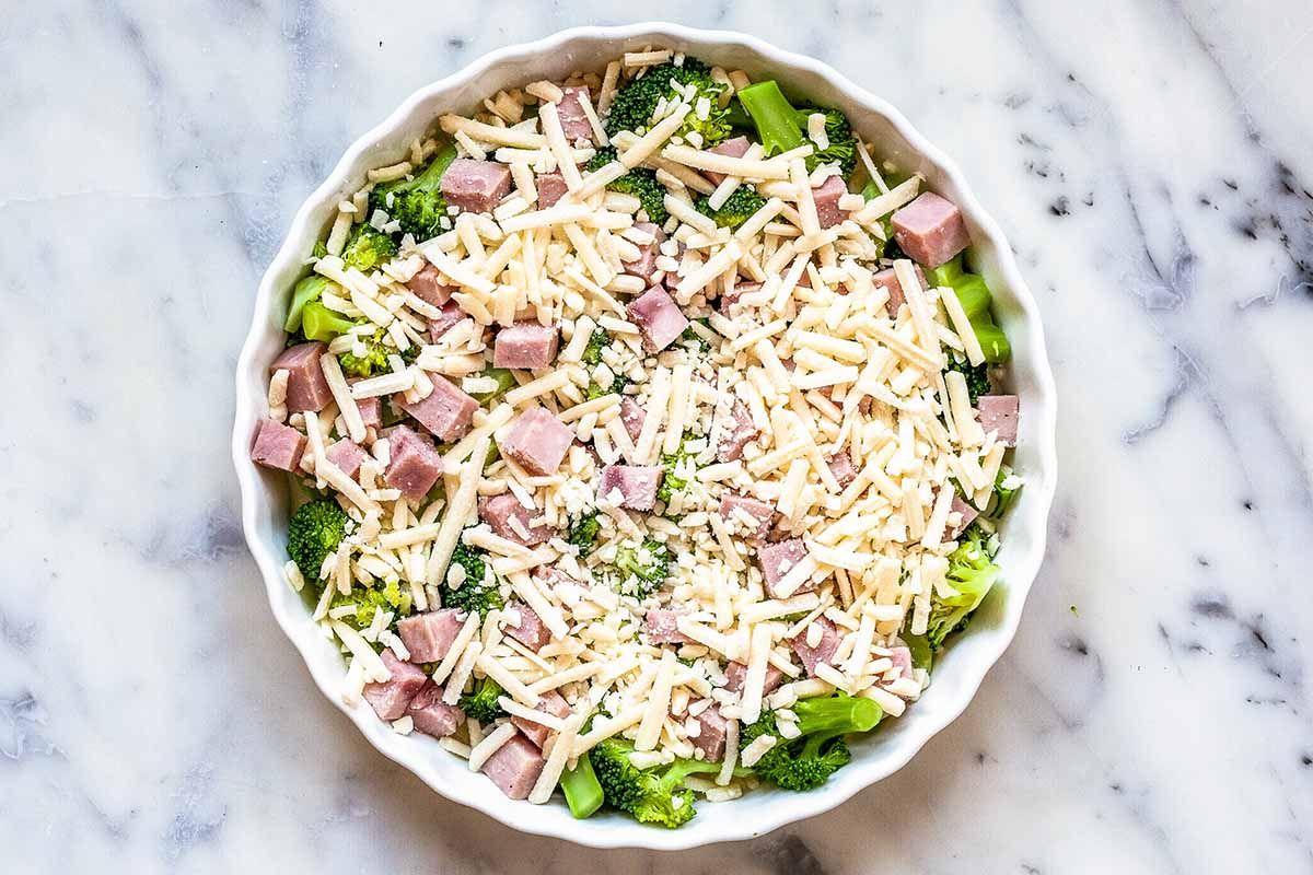 Cheesy crustless quiche with broccoli and ham recipe