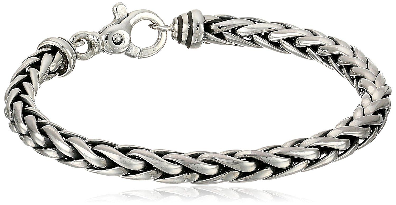 Zina Sterling Silver Men's Woven Chain Bracelet, 8.5""