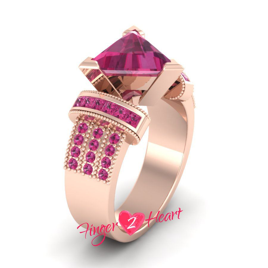 Pink Sapphire Engagement Ring 925 Sterling Silver Promise Ring 3.30 ...