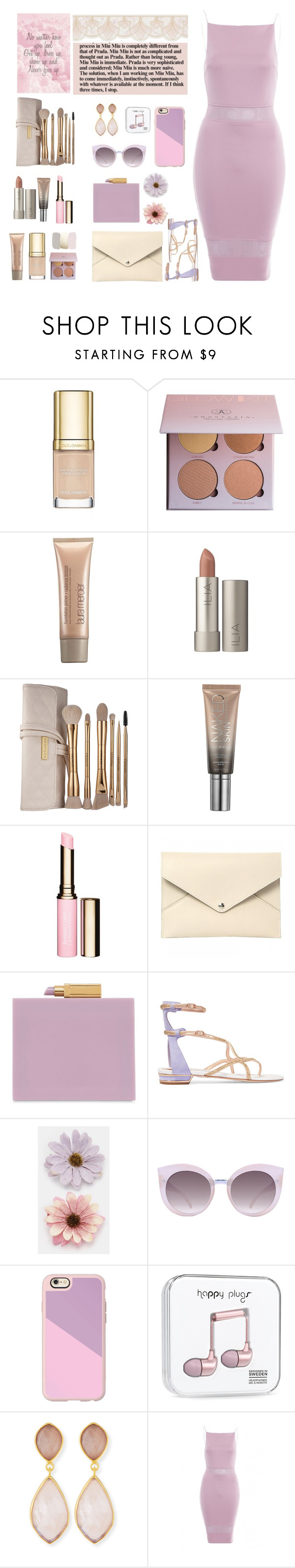"""Forever always Dress cute color"" by licethfashion ❤ liked on Polyvore featuring Dolce&Gabbana, Laura Mercier, Sephora Collection, Urban Decay, Clarins, Louis Vuitton, Lulu Guinness, René Caovilla, ASOS and Quay"