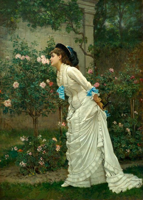AUGUSTE TOULMOUCHE   (Nantes, França, 21 de setembro de 1829 – Paris, França, 16 de outubro de 1890)_A Girl and Roses_1879