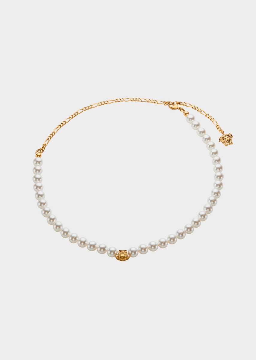 Versace medusa pearl necklace for women official website