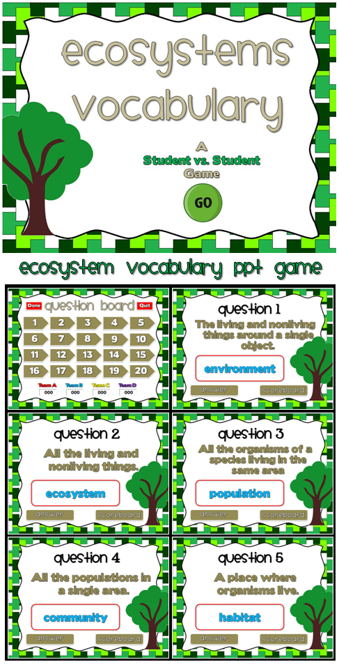 This Ppt Game Reviews Ecosystem Vocabulary Students Are Given The Definition And They Must Decide What The V Ecosystems Fourth Grade Science 4th Grade Science