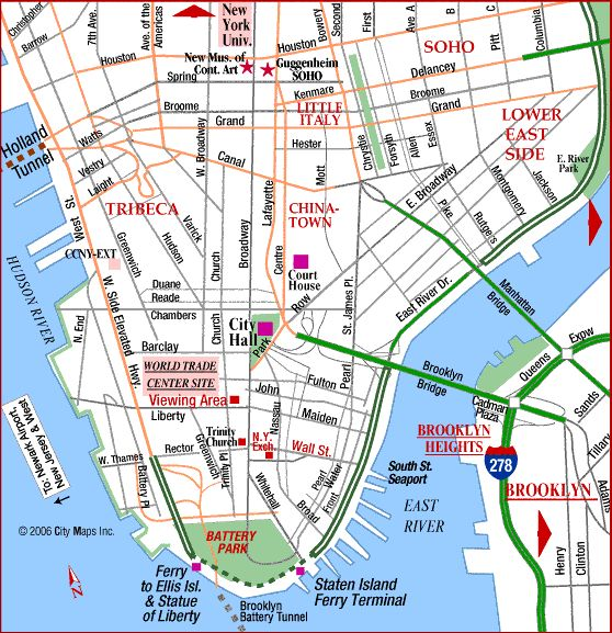 Noho Nyc Map.Lower Manhattan Nyc Lower Financial District Battery Park