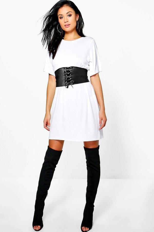 deba5e7e0b boohoo Faye 2 in 1 Corset Belt T-Shirt Dress