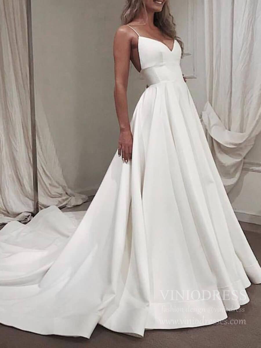 Spaghetti Strap V Neck Simple Wedding Dresses With Long Train Vw1393 In 2021 Elegant Long Sleeve Wedding Dresses Wedding Dresses Wedding Dresses Simple [ 1200 x 900 Pixel ]
