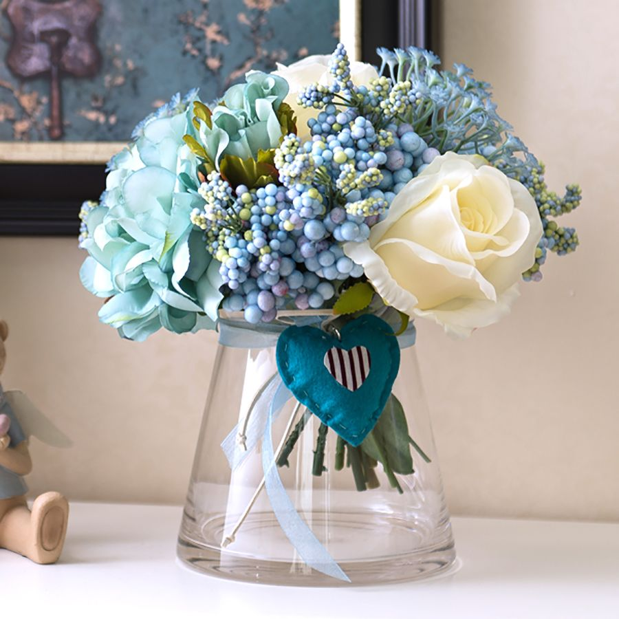 1 Set Artificial Flowers Rose Peony Bouquet Blue Heart Open Conical