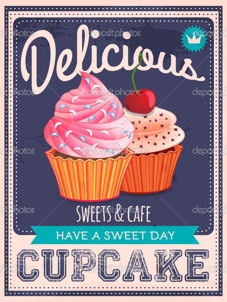 Wall mural vintage cupcake poster design - abstract • PIXERSIZE ...